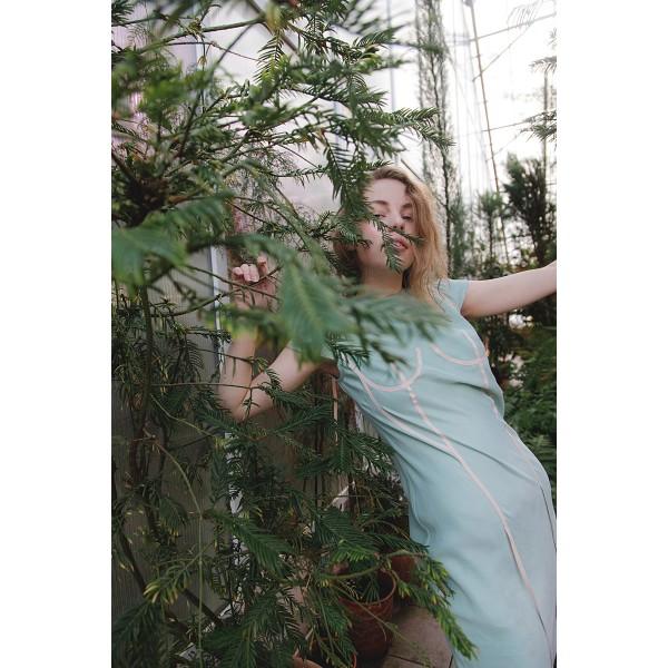 Mint dress with applique