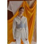 Striped blue and white corset