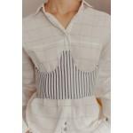 Striped grey and white corset