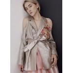 Silk-blend blazer with silk flower applique