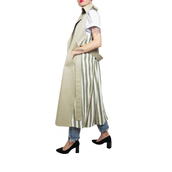 Light beige sleeveless trench coat with olive striped linen back