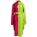 Neon green and pink laquered faux leather trench coat