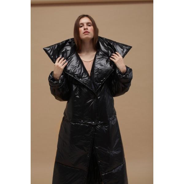 Black transformer puffer coat