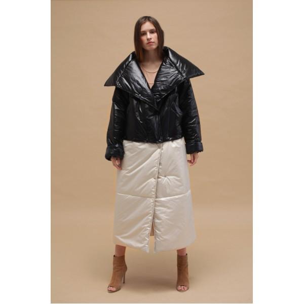 Transformer puffer coat (black+creamy white)
