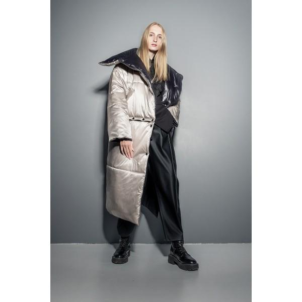 Transformer puffer coat (sandy grey+black)