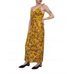 Ocher slip dress with corset