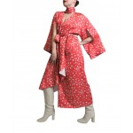 Coral dress with kimono sleeves