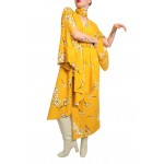 Patterned yellow dress with kimono sleeves