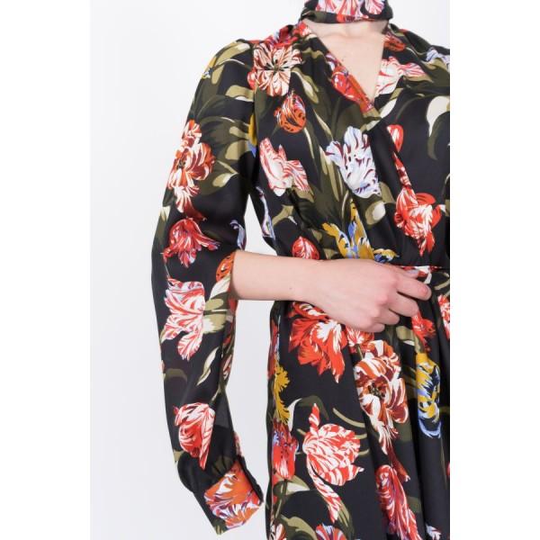 Wrap dress with asymmetric skirt
