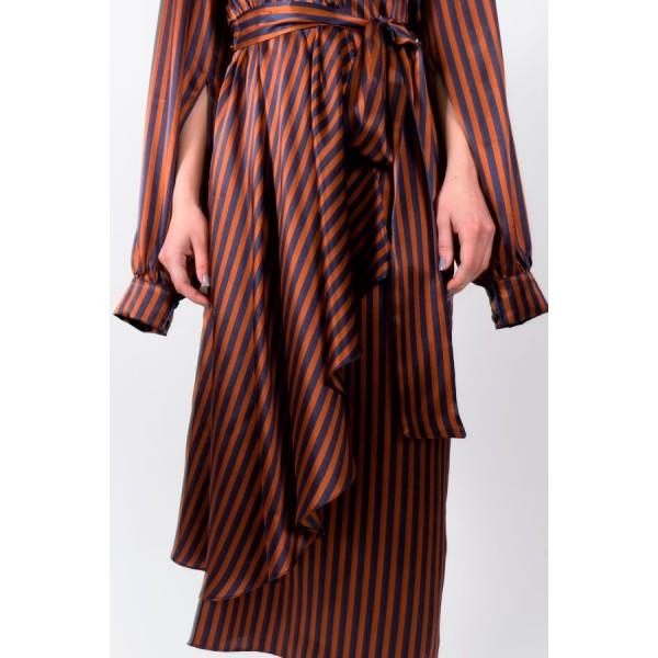Striped silk wrap dress with asymmetric skirt