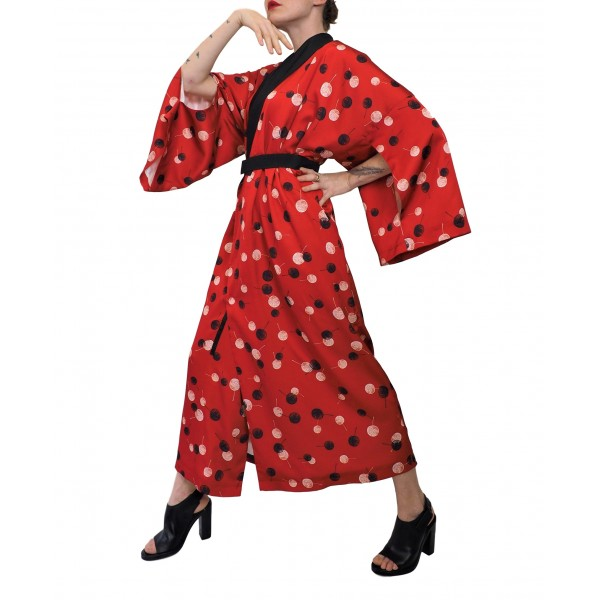 Red transformer kimono dress