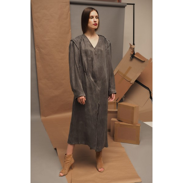 Graphite grey split dress with shoulder pads