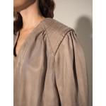Sandy grey split dress with shoulder pads