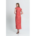 Coral dress with beige applique
