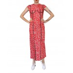 Patterned coral dress with applique