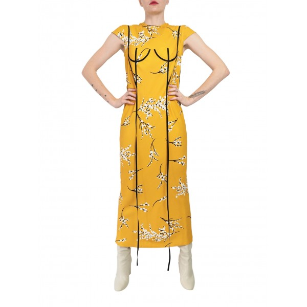 Patterned yellow dress with applique