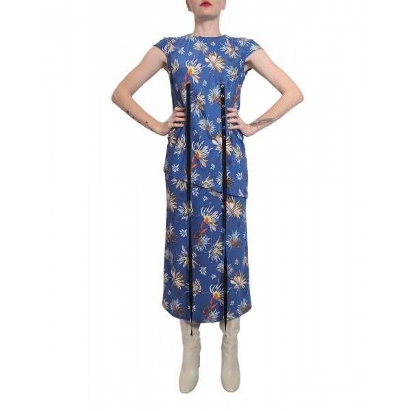 Flower blue dress with applique