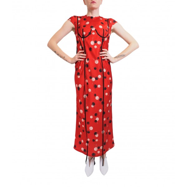 Patterned red dress with applique