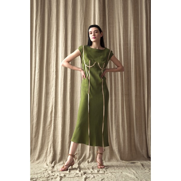 Green dress with applique