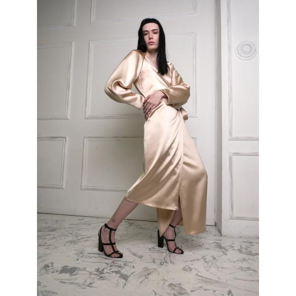Golden beige wrap dress