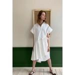 White asymmetric cotton dress