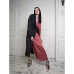 Asymmetric wrap dress (black+rose)