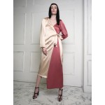 Asymmetric wrap dress (golden beige +rose)
