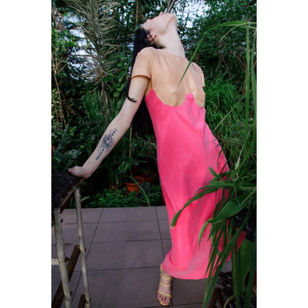 Two-tone dress  (nude + fuchsia)
