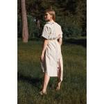 Asymmetric linen-blend striped dress (red + blue)