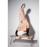 Nude dress with shoulder pads