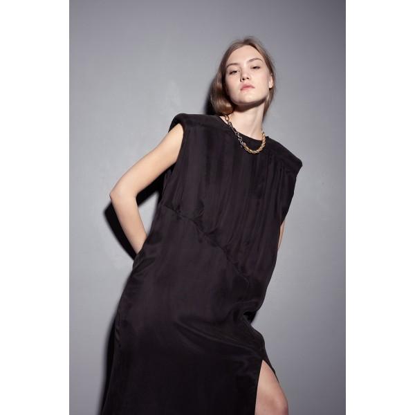 Black dress with shoulder pads