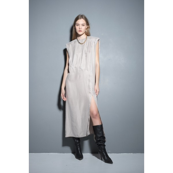 Pearl grey dress with shoulder pads