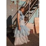 Bicolor silk organza dress with flounce