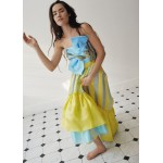 Two color silk flower applique top-and-skirt