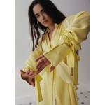 Lemon silk long-sleeve shirt-dress