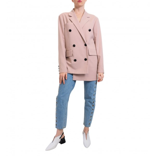 Pink asymmetric double-breasted buttonned jacket
