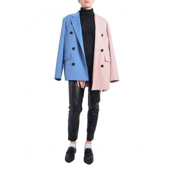 Blue and pink asymmetric double-sided buttonned jacket