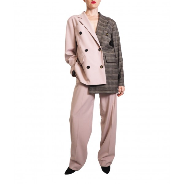 Pink and brown plaid asymmetric double-sided buttonned jacket