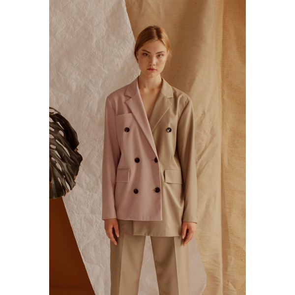 Camel and pink asymmetric double-sided buttonned jacket