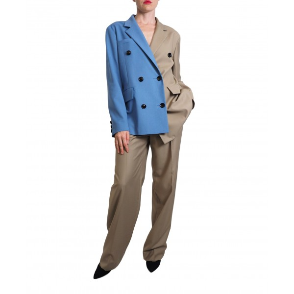 Camel and blue asymmetric double-sided buttonned jacket