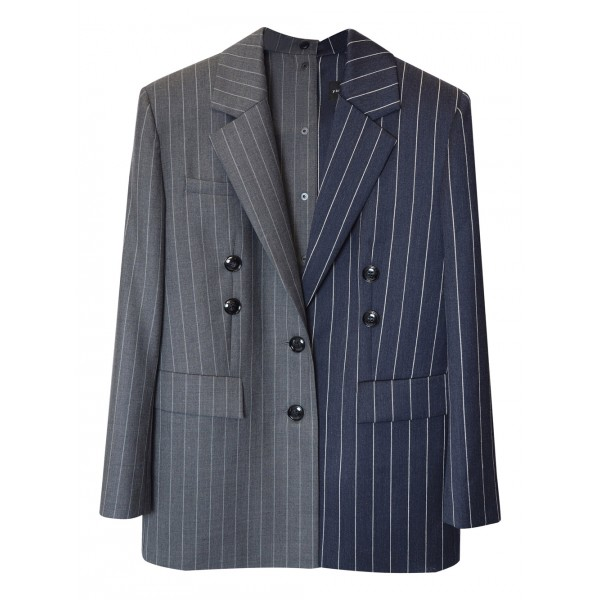 Striped grey and navy jacket with shoulder pads