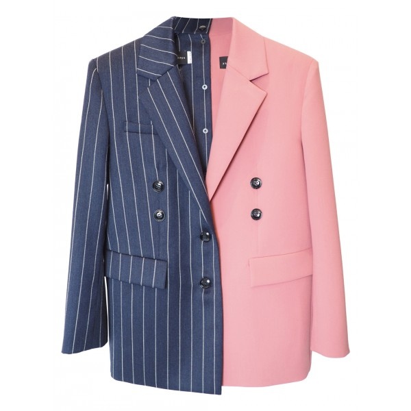 Striped navy and pink jacket with shoulder pads