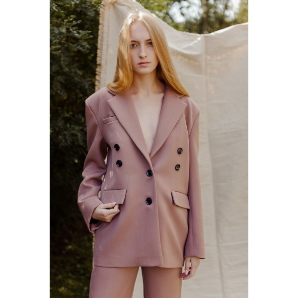 Dusty pink jacket with shoulder pads