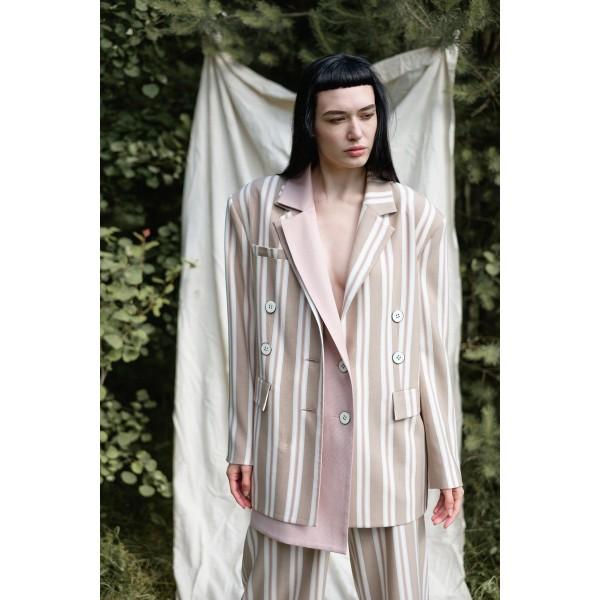 Striped beige blazer with detachable front