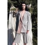 Grey linen-blend blazer with cappucino detachable front