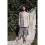Linen-blend blazer with detachable front (grey + beige)