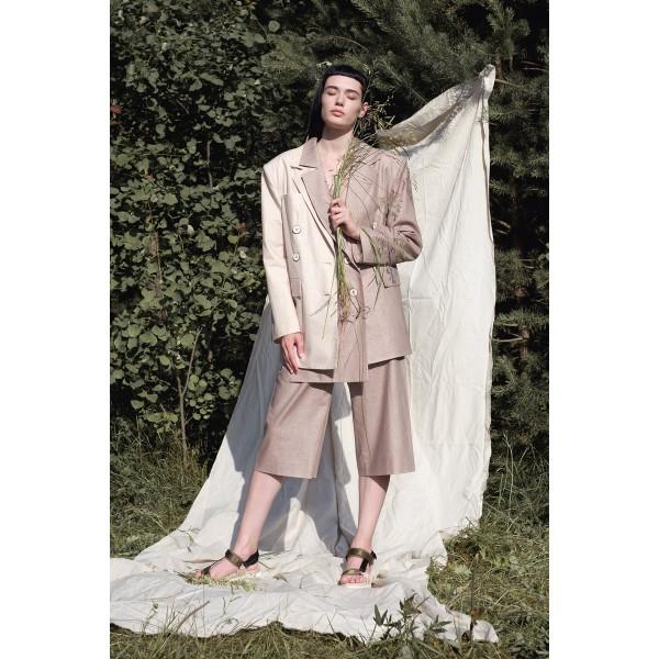 Linen-blend blazer with detachable front (beige + cappucino)