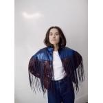 Bicolor light fringed jacket