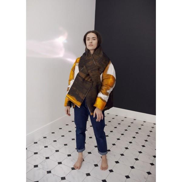 Silk jacquard jacket with scarf