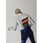 Silver faux leather biker jacket